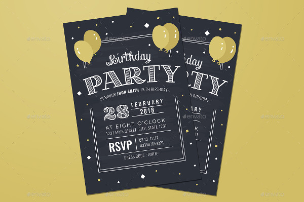 Chalkboard Party Invitations