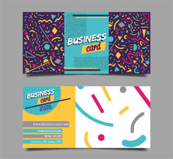 Cheerful Business Card with Geometric Shapes
