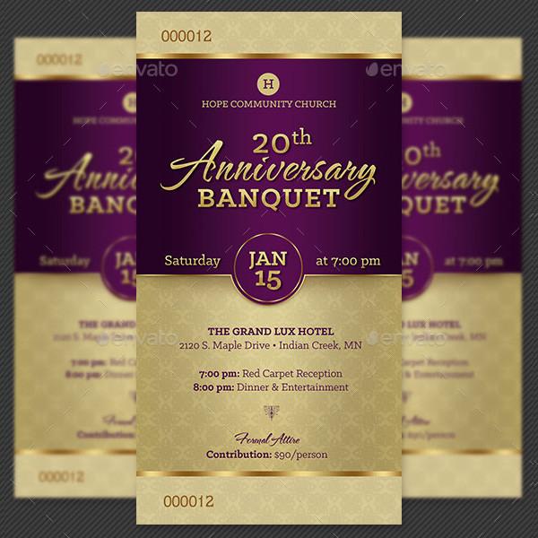 Church Anniversary Banquet Ticket Template