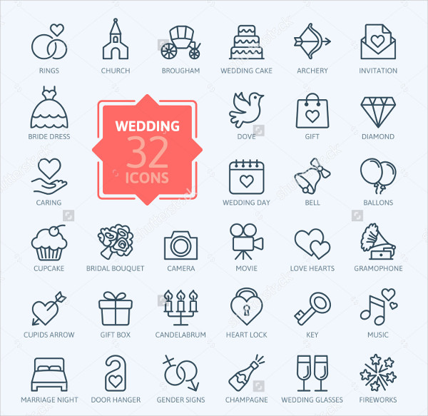 Outline Web Icon Set for Wedding