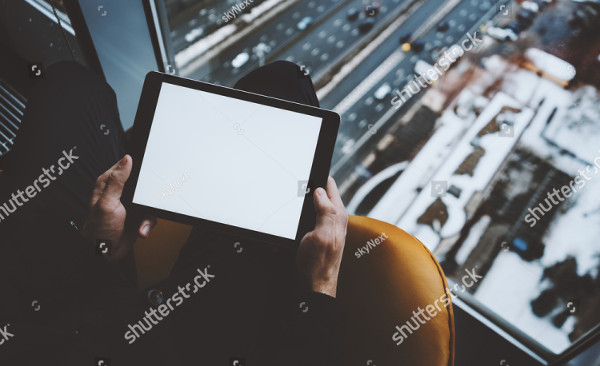Close Mockup Template of Tablet
