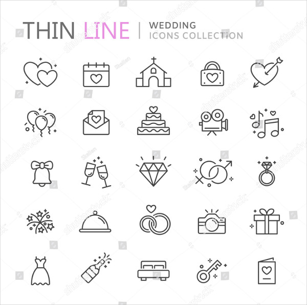 Collection of Wedding Thin Line Icon