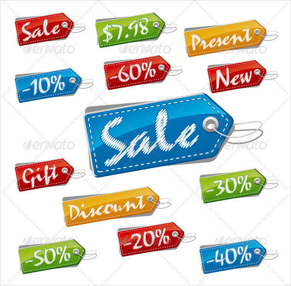 Sale and Price Stitched Labels Set