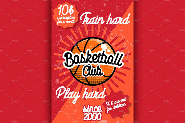 Color Vintage Basketball Club Poster Template