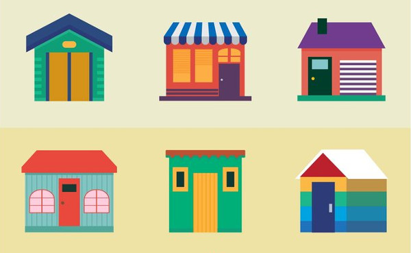 Colorful Houses Icons Free Vector