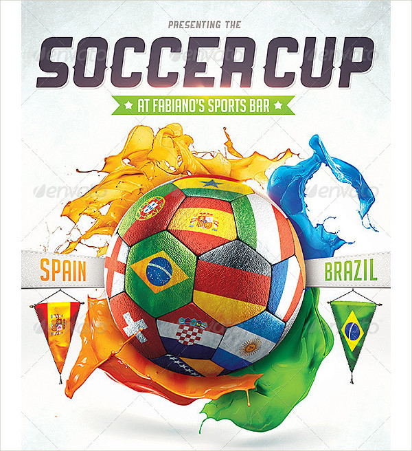 Colorful Soccer Cup Flyers Design