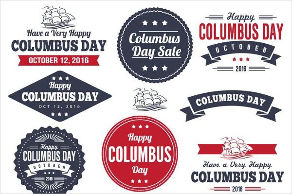 Columbus Day Label Set Free