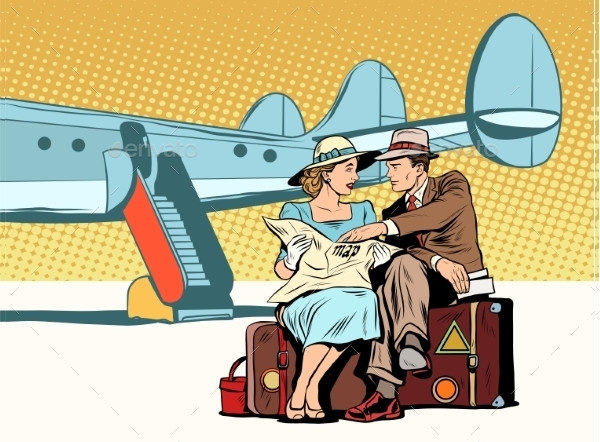 Tourist Couple Airport Art Illustrations