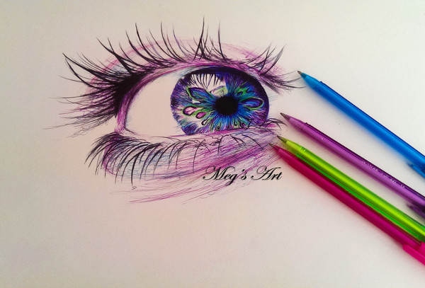 Eye Pen Drawing