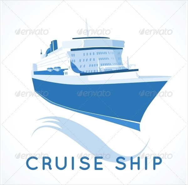 Cruise Ship Label Vector Illustration