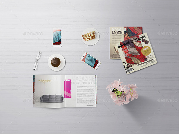 Customizable Square Magazine Mock-Ups Free Download