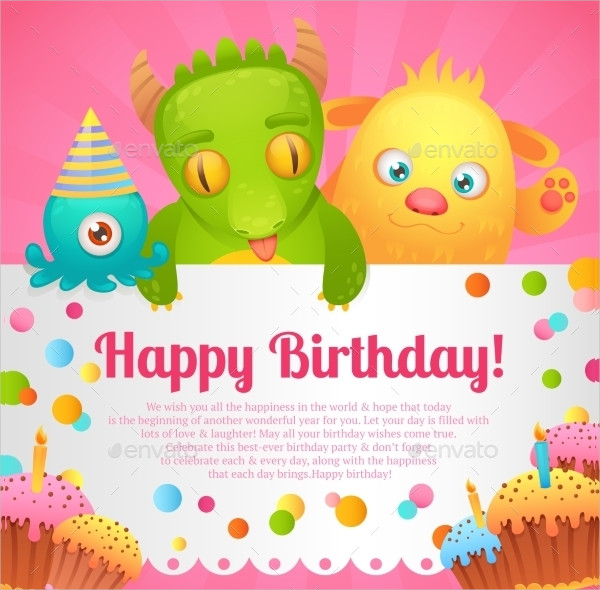 Cute Birthday Monsters Card