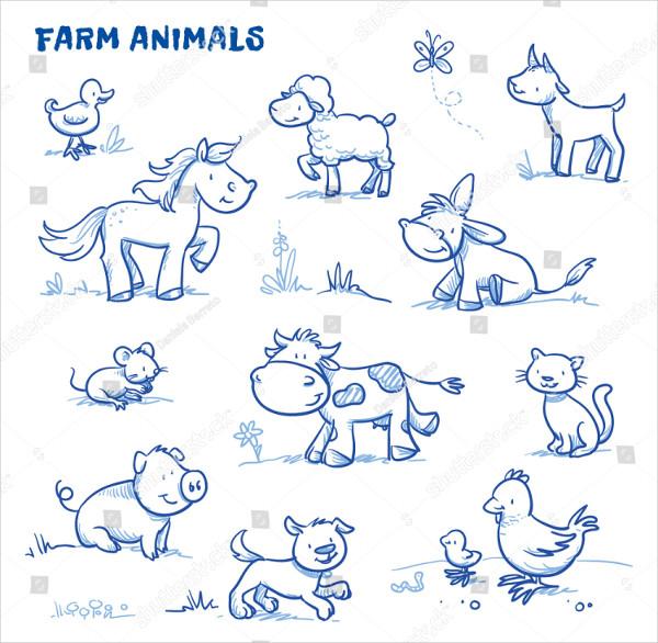 Cute Cartoon Farm Animals Drawing