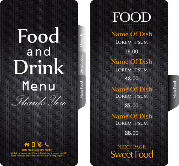 Dark Black Restaurant Menu Template Free