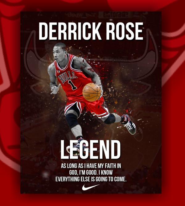 Derrick Rose Basketball Poster Template