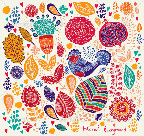 Detailed Floral Pattern with Bird
