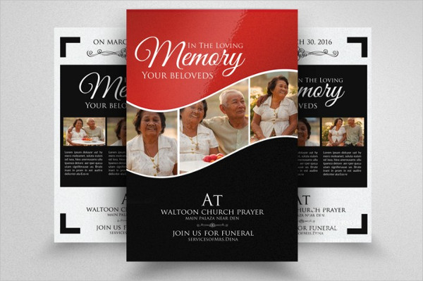 Double Sided Funeral Flyers Template