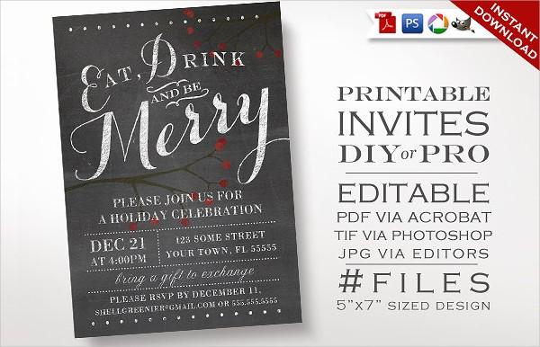 Editable Chalkboard Christmas Invitation