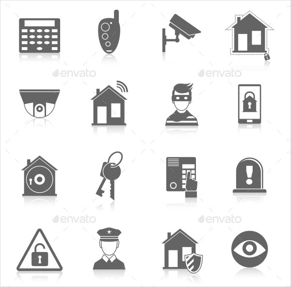 Editable Home Security Icons