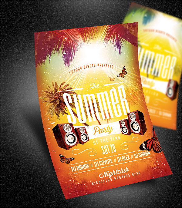 Electro Summer Party Poster or Flyer Template