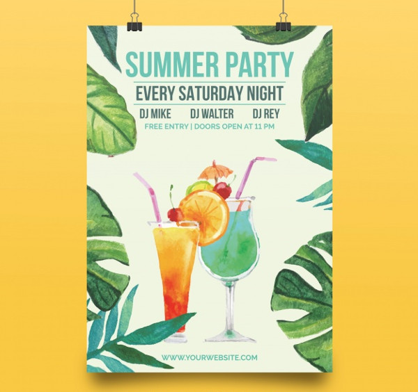 Elegant Poster with Summer Party Free