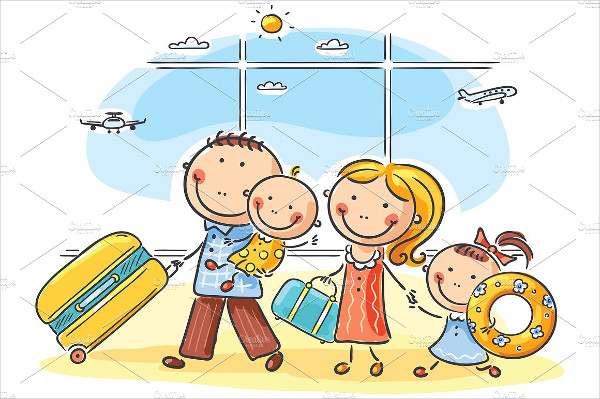 Family in the Airport Illustration