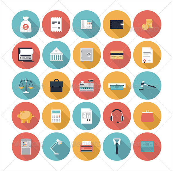 Finance and Market Flat Icons Set