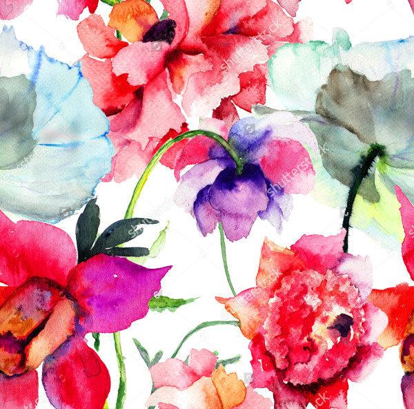 Seamless Peony Flowers Pattern