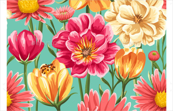 Floral Seamless Pattern with Bright Flowers