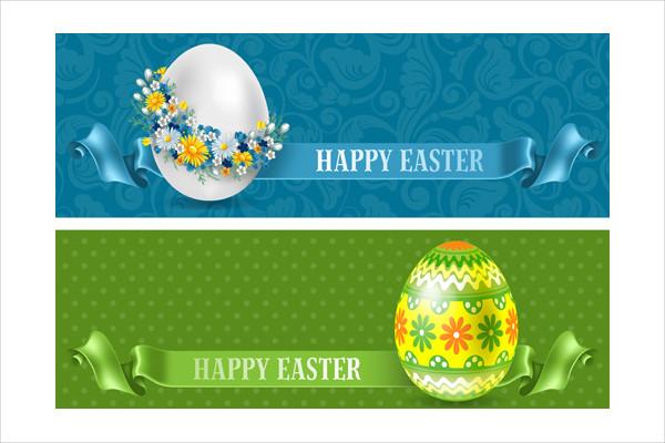 Flower Egg and Easter Banner Free