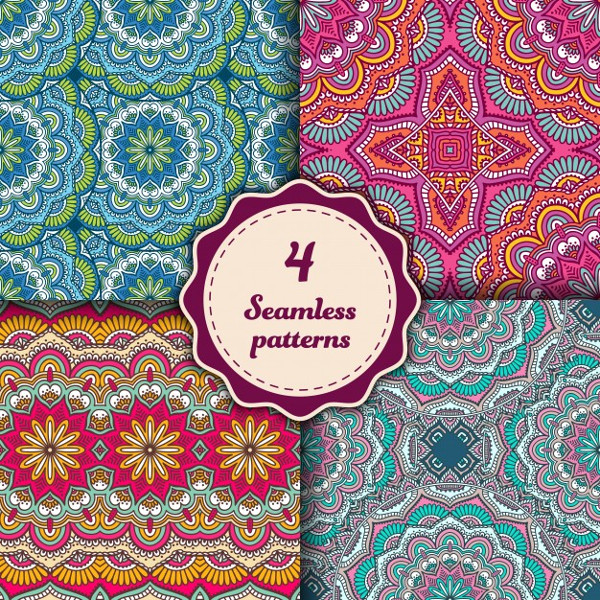 4 Seamless Mandala Patterns Free