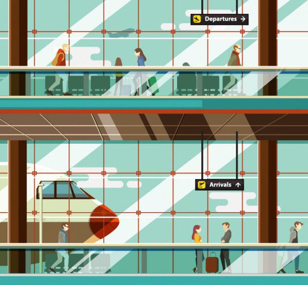 Airport Illustration with People Free Download