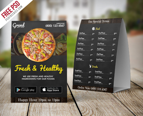 Free Restaurant Food Menu Table Tent Template