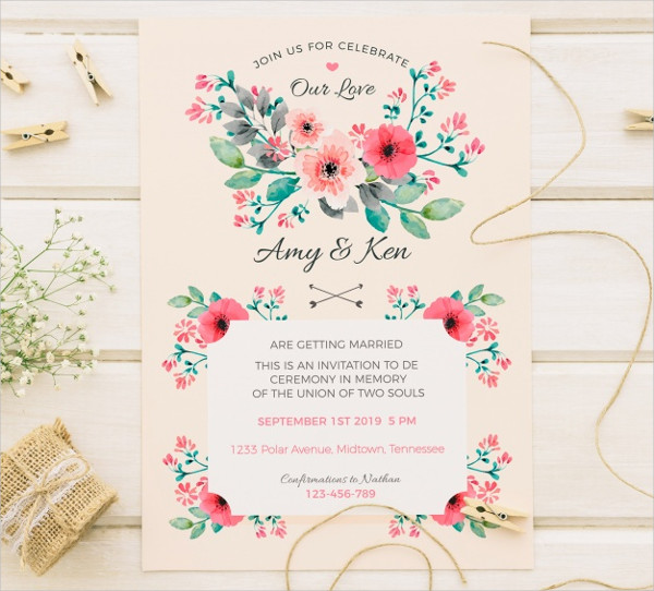 Free Vintage Invitation Template for Wedding