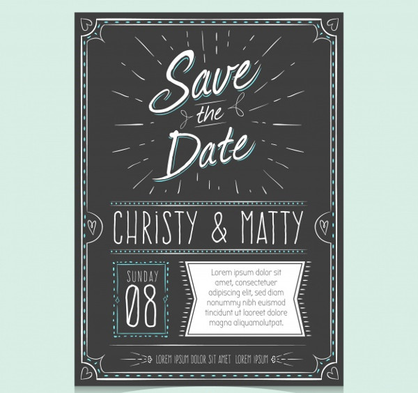 Free Vintage Wedding Invitation with Hand Drawn Style