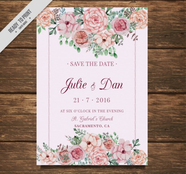 Free Wedding Card with Flowers
