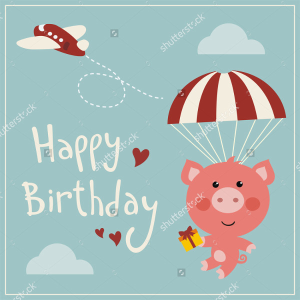 Funny Birthday Card with Flying Pig