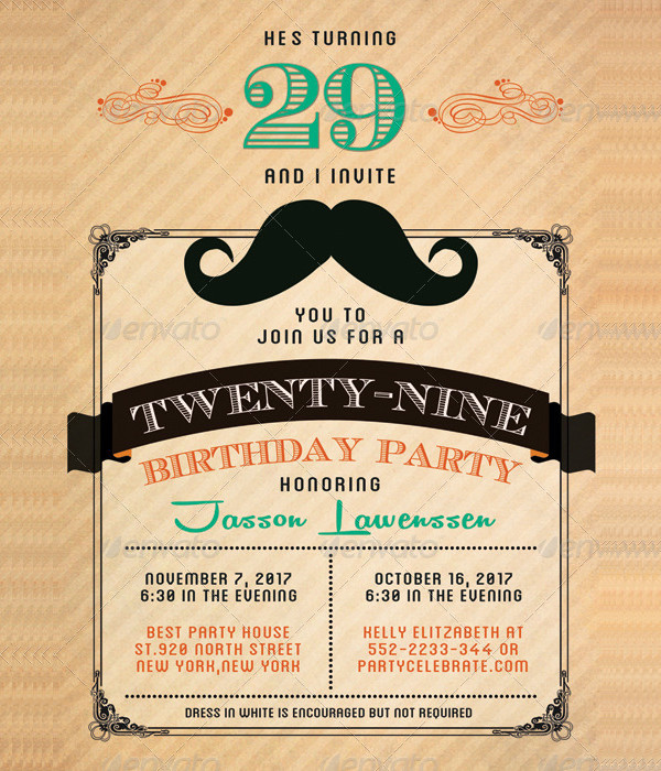 Funny Mustache Birthday Invitation Card