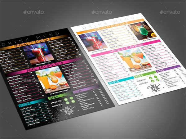Colorful Menu for any Food and Drink Service