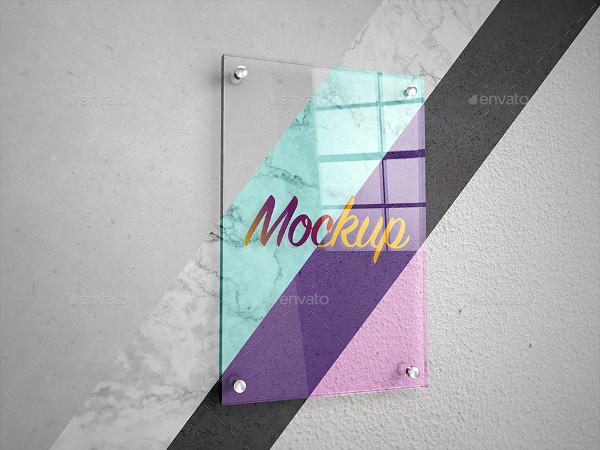 Glass Poster Signage Mock-Up