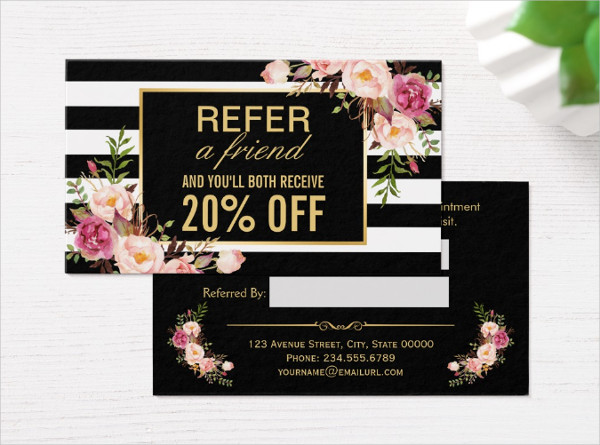 Gold Floral Business Card for Beauty Salon
