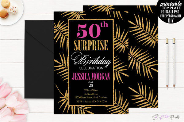Gold Leaves 50th Birthday Party Invitation Template