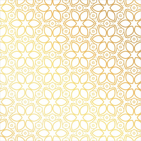 Golden Pattern with Floral Shapes Free