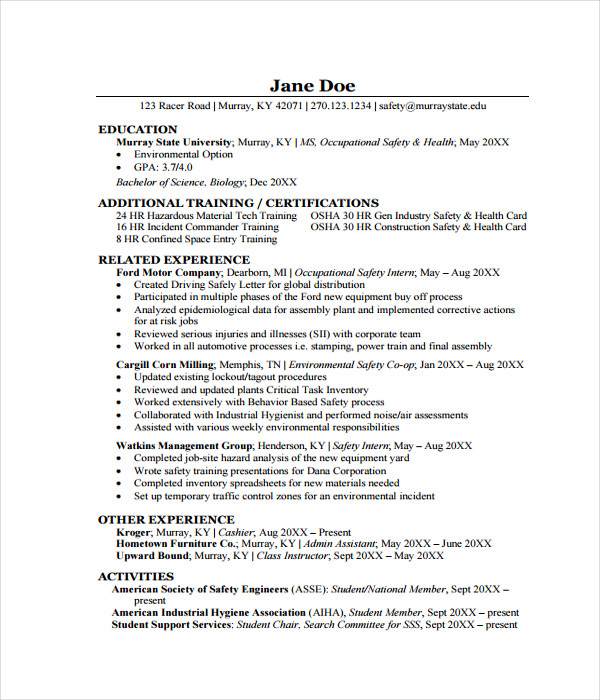 Graduation Resume Templates Free