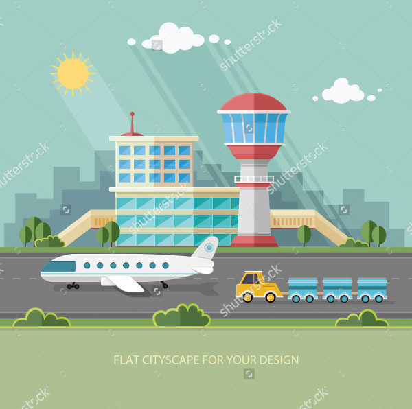 Landscape Airport Art Illustration