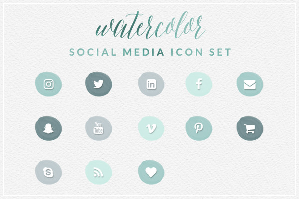 Green Watercolor Social Media Icons