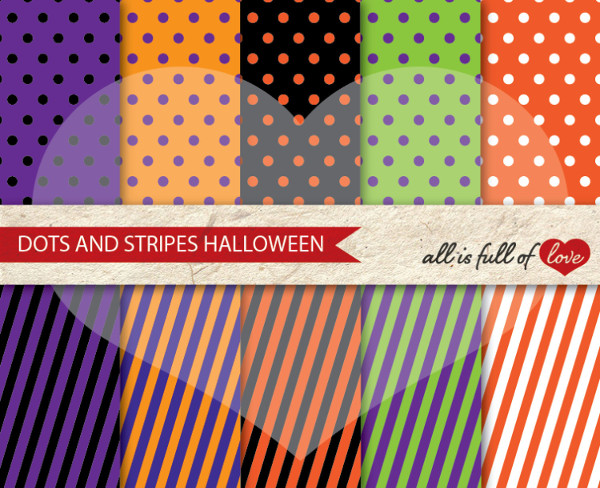 Halloween Paper Dots and Stripes Background Patterns