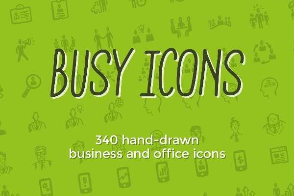 Hand Drawn Business Marketing & Office Icons