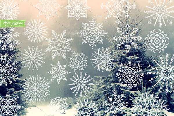 Hand Drawn Snowflakes Pattern