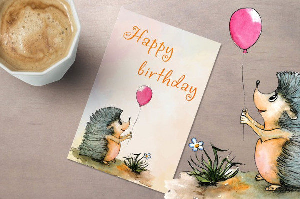 Hand Drawn Watercolor Birthday Cards